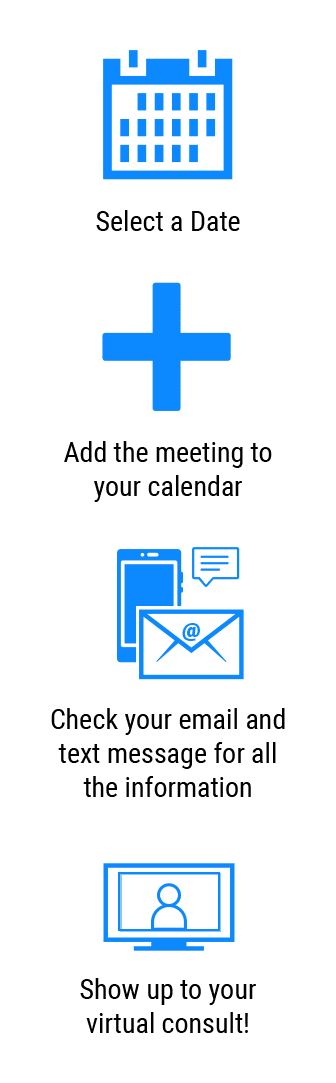 Select a Date, Add the meeting to your calendar, Check your email and text message for all the information, Show up to your virtual consult!